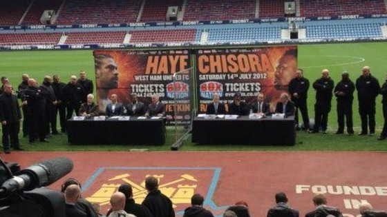 Haye and Chisora hold a press conference ahead of their planned fight in July.