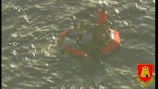 Raft with survivors.