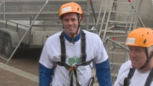 Jamie Carragher after his zip wire adventure
