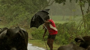 A boy tries to cover himself with an umbrella during heavy rain brought by Cyclone Phailin.