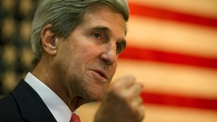 US Secretary of State John Kerry speaks during a break in a meeting with Afghan President Hamid Karzai.
