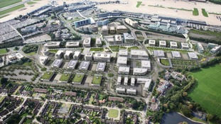 Aerial view of Airport City looking south. The 150 acre development will deliver 16,000 jobs.