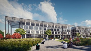One of the proposed office buildings at Airport City, Manchester on the north International Business Hub site.