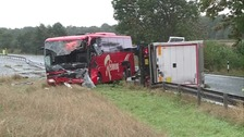 Coach and lorry crash at Diddington