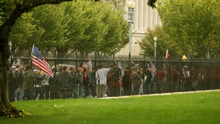 Protesters from the 'Million Vet March on the Memorials' demonstrate in front of the White House.