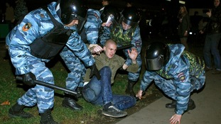 Police arrested around 380 people in the protests, which continued late into the night.