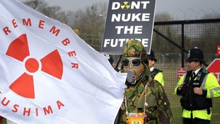 Protestors at Hinkley point in 2012