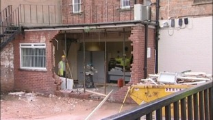 The damage caused by the digger at HSBC in Atherstone