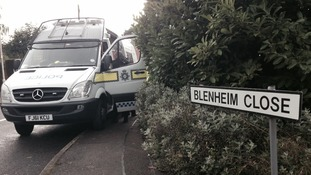 The police van on the corner of Blenheim Close