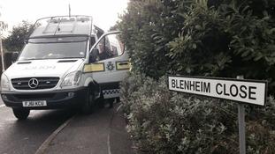 The police van on the corner of Blenheim Close