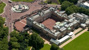 An aerial shot of Buckingham Palace.