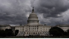 Storm clouds gather over Capitol Hill in Washington.