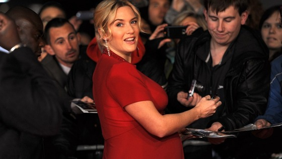Kate Winslet greeted fans as she walked the red carpet tonight.