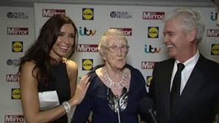 Jean Bishop with Philip Schofield and Christine Bleakley at the Pride of Britain Awards