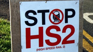 """Stop HS2"" sign"