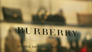 A sign on the door of the flagship Burberry store on Regent Street, in central London.