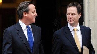 Prime Minister David Cameron and Deputy Prime Minister Nick Clegg, leave 10 Downing Street