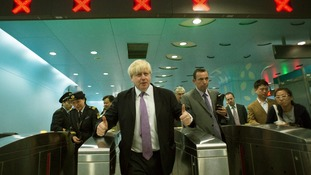 Mayor of London Boris Johnson travels from Xidan to Gongzhufenin on Line 1 of the Beijing Metro