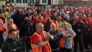 Communication Workers Union (CWU) members at the Mount Pleasant Royal Mail site had a mass meeting this morning.