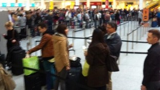 The queue at Gatwick airport.