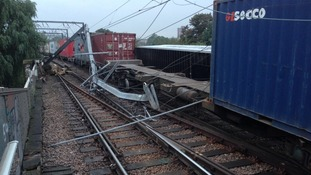 Damage caused by this morning's derailment