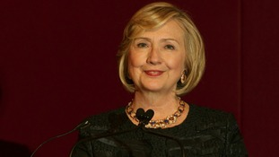 Former US Secretary of State Hillary Clinton speaking on Saturday at Chatham House