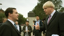 Chancellor George Osborne and Mayor of London Boris Johnson at Peking University in Beijing.
