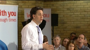 Ed Miliband at a question and answer session in Harlow
