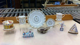 A range of the commemorative pieces for sale