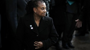 Doreen Lawrence walks outside the Old Bailey after two men were convicted of the racist murder of her son