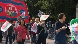 Teachers demonstrate during their last strike in October