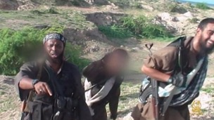 Fighters featured in the Al-Shabaab video