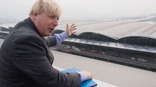 Mayor of London Boris Johnson takes a look at Hong Kong International Airport.