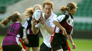 Prince Harry at Twickenham today
