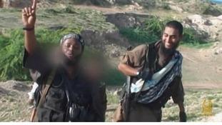 Two men, said to be British, on the al-Shebaab propaganda video