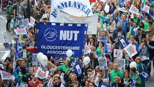 Members of the National Union of Teachers and the NASUWT, march through Bristol.