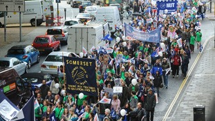 Teachers and union members march through the streets of Bristol.