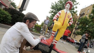 Banksy's Ronald McDonald sculpture will visit a different McDonalds every lunchtime for a week.
