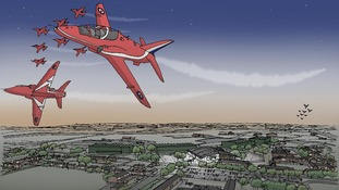 Artists impression of the proposed theme park at RAF Scampton
