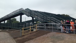 The new footbridge at Moor Bridge Crossing in Nottinghamshire