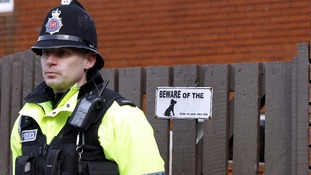 File photo of a policeman standing near the scene where Jade Lomas-Anderson was found dead.