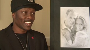 Arnold with one of his portraits of Prince William and the Duchess of Cambridge