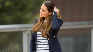 Kate takes a break during a visit to the SportsAid charity in east London