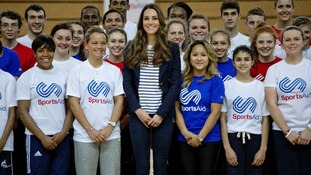 Kate Middleton with SportsAid charity members in east London