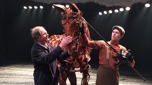 Mechanical star of the show - 'Joey' the War Horse - meets the cast