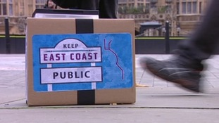 Protestors want East Coast mainline to stay in public hands.