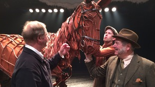 The writer of the War Horse novel, Michael Morpungo, with lead actor David Fleeshman, who is from Birmingham