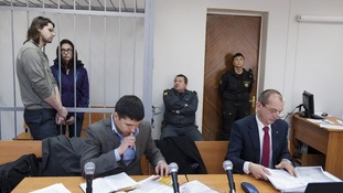 Alexandra Harris pictured at her bail hearing today in Murmansk.