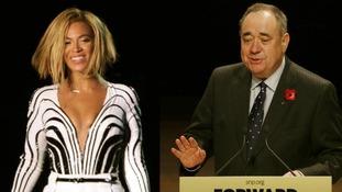 Beyonce (L) and Alex Salmond