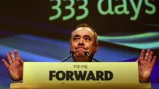 Alex Salmond delivers his address to the Scottish National Party conference in Perth